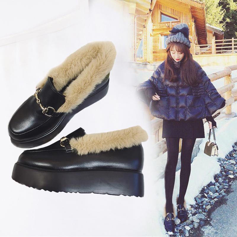 毛毛单鞋女秋冬季厚底