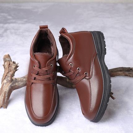 冬季男士棉皮鞋男加绒加厚保暖高帮休闲鞋棉加绒加厚爸爸棉皮鞋子