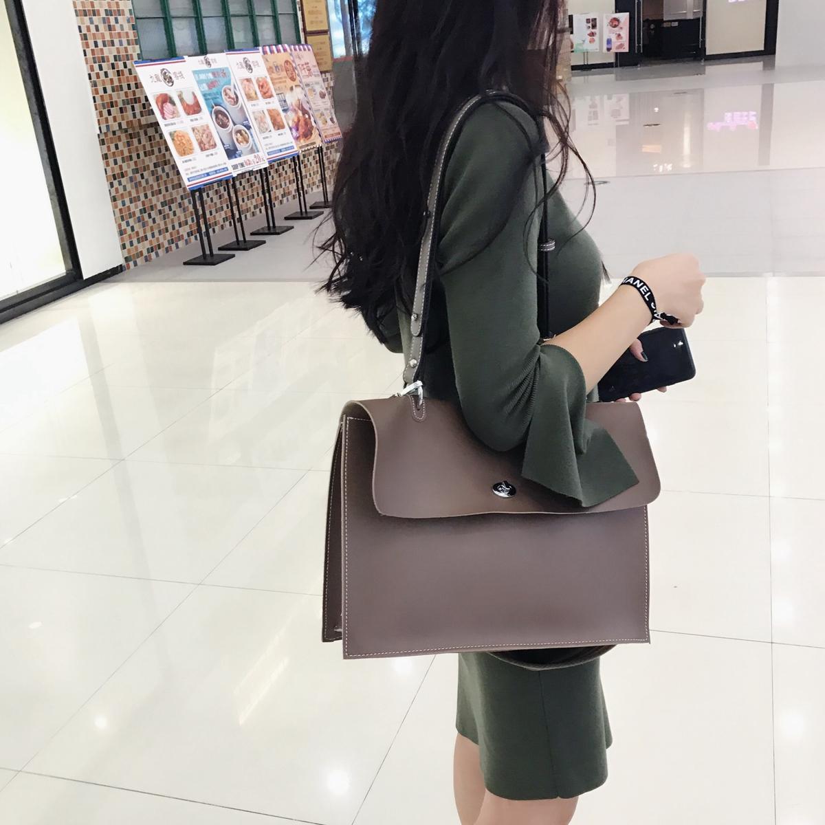 素shop简约单肩包大包包女2017新款韩版斜跨包百搭时尚帅气复古包