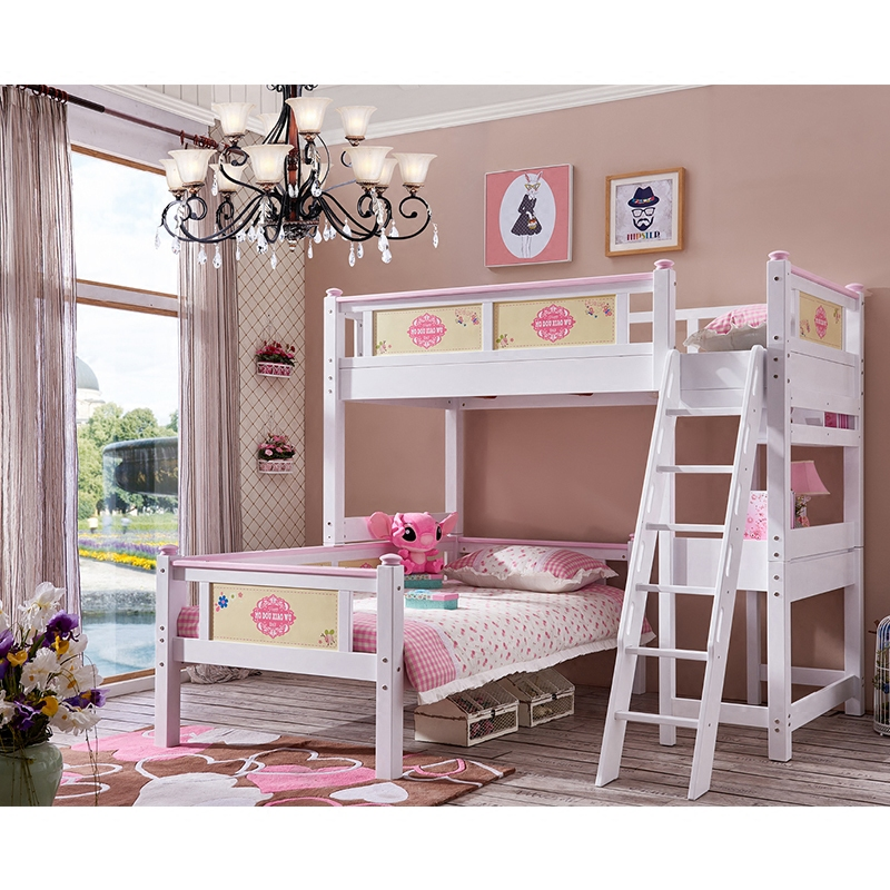 All solid wood children bed double bed multifunctional combined bed bunk with half height desk boys and girls