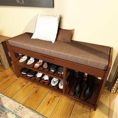 欧式鞋架多层楠竹换鞋凳实木试鞋柜现代简约穿鞋凳子收纳储物凳子