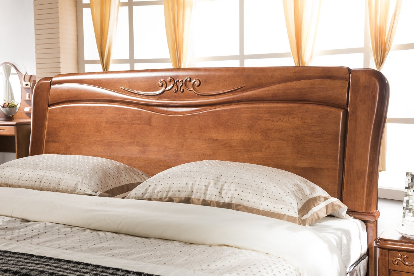 Natural oak bed, Chinese style solid wood bed, modern double bed, 1.8 meters high box storage bed, adult marriage bed