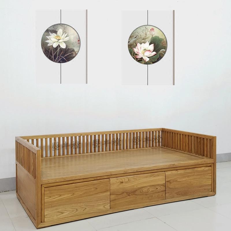 新中国の古い木造ソファ楡現代シンプル帯引き出し貴妃アンティーク禪の教えにも少なからずあり新品羅漢ベッド