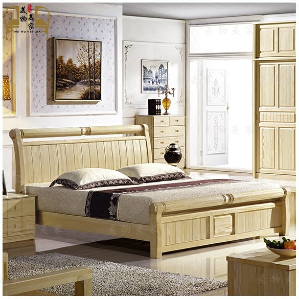 Hainan Tunchang Finland pine pure wood furniture children bed double bed suite 1.51.8 m new special offer free shipping