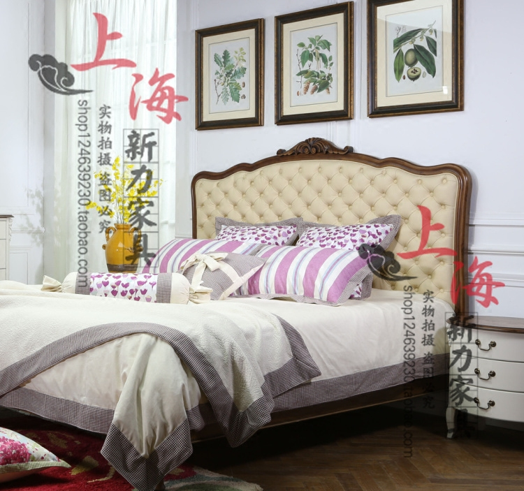 American country solid wood leather double bed 1.8m rural carved luxury buttons, soft double marriage bed can be customized