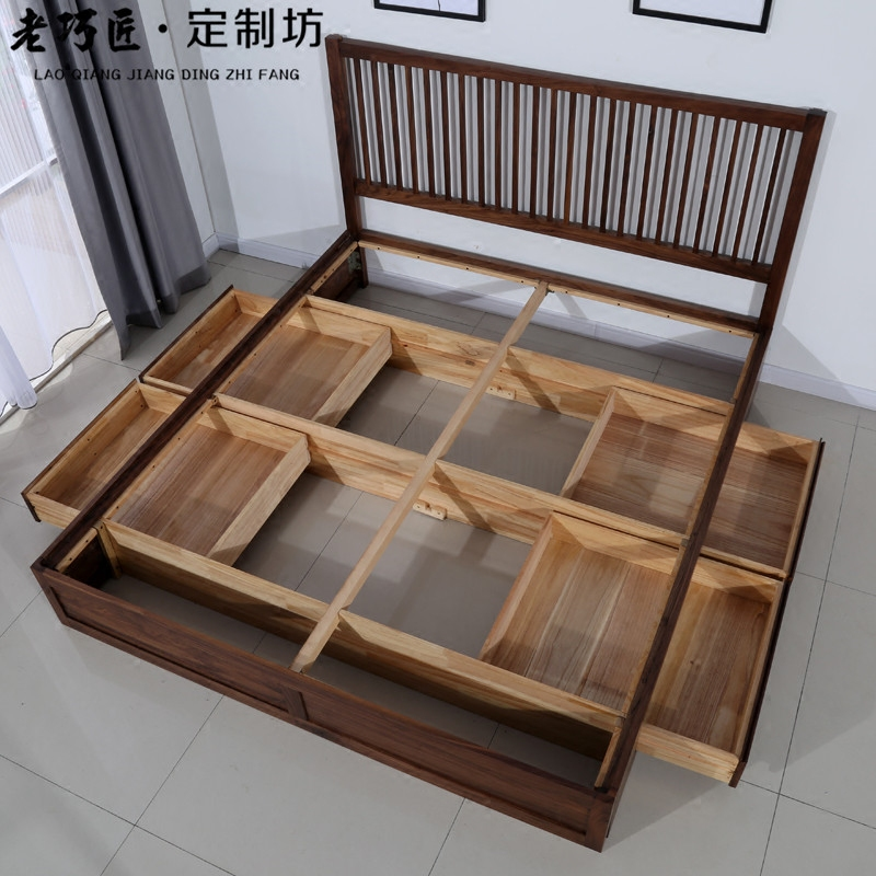 The Nordic minimalist black walnut wood wax drawer bed pressure turnovered bed storage bed wood double bed