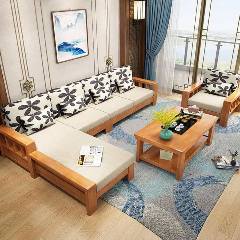 Combination of solid wood sofa with corner, Royal living room furniture, small apartment, three people, cloth sofa, new Chinese style sofa