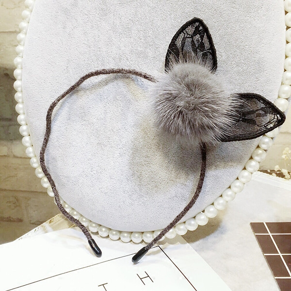 Милый кролик уши норки кружева новые волосы шпилька заколка давление мяч волна волос волосы обруч на голову женщины головной убор шпилька