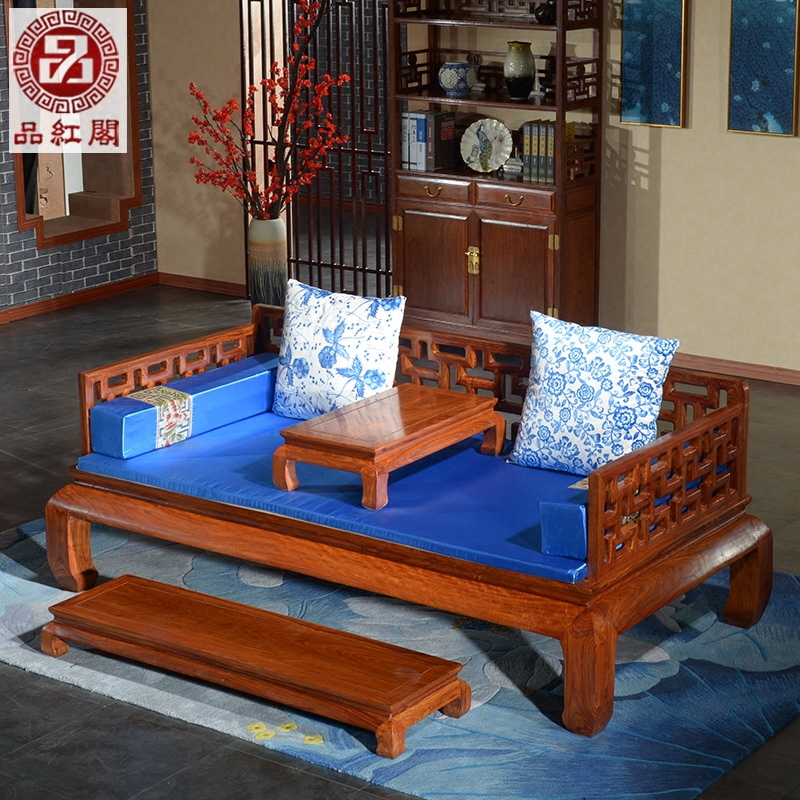 花梨木マホガニーの家具材のソファーのシングル寝込んだ万字格新中国式禪チェアほぞ卯アンティーク羅漢ベッド