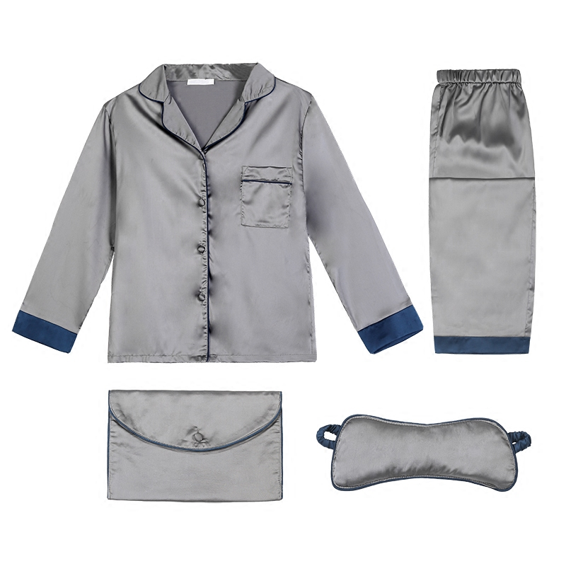 Personal diary textured silk pajamas pajamas long sleeved pants trimmed LAPEL SUIT four piece Home Furnishing Ms.