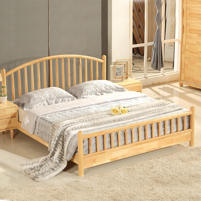The wind bed Zhuwo tatami low bed floor wood color 1.8m economic type bed Japanese Garden