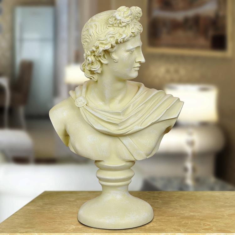 仿古銀色大衛頭像雕塑歐式家居人物擺飾 樹脂工藝品辦公室擺件 雕刻