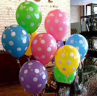 12寸韩国满印点点圆点波点装饰气球 节日生日Party婚庆气球糖果色