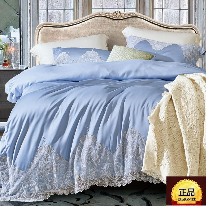Blue Satin Lace high-grade textile bedding home minimalist style Korean Tencel four sets of sheets
