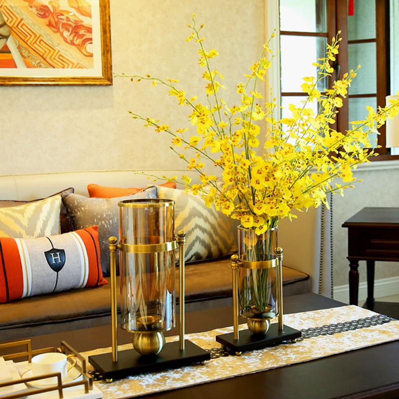 大號美式家居客廳餐桌花瓶干花插花裝飾品擺件創意歐式玻璃燭臺擺設