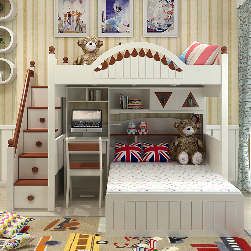Корейская детская комната двухъярусной кровати деревянный стол гардероб сочетание Средиземноморского мальчик девочка на двухъярусной кровати двухъярусные кровати