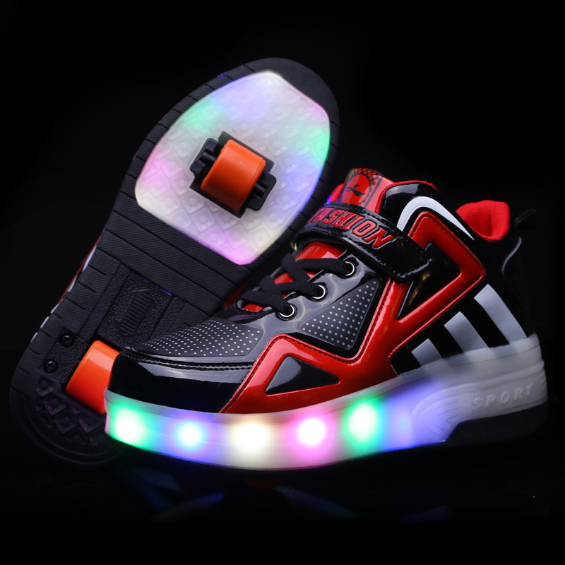 Students runaway shoes boys twins children with pulley flashing shoes girls in large children skate wheels sports shoes