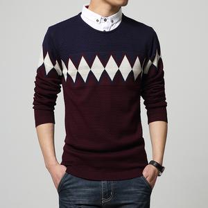 爆款春季男时尚韩版修身衬衫领毛衣 JP152-3509-P80加码M-4XL