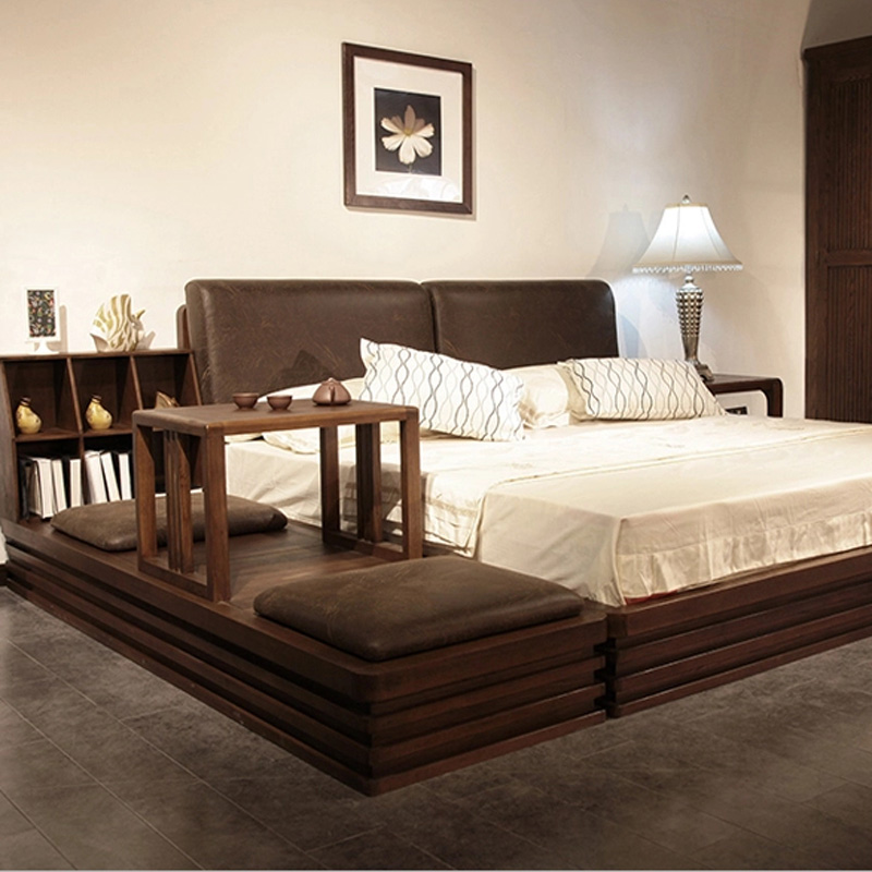 Japan and South Korea and Southeast Asian style tatami bed solid wood ash ash bed contracted 1.8 meters double bed