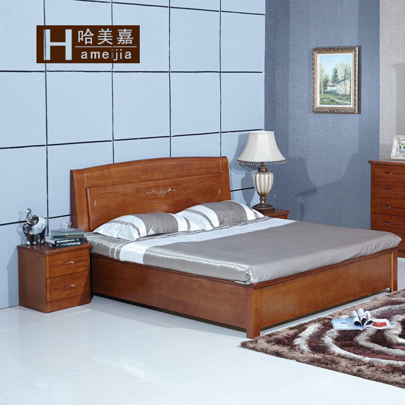 Modern Chinese solid wood bed, oak bed, 1.8 meters, 1.5 meters, double bed, high box, storage bed, bedroom furniture, marriage bed
