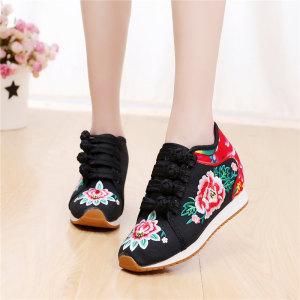春夏季新款民族风草编鞋女鞋帆布鞋刺绣花布鞋女透气高帮亚麻布鞋