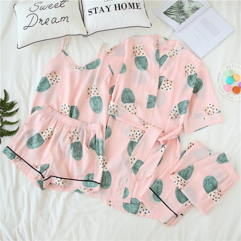 Summer silk pajamas silk cardigan female Sexy Halter Top Home Furnishing 234 piece suit