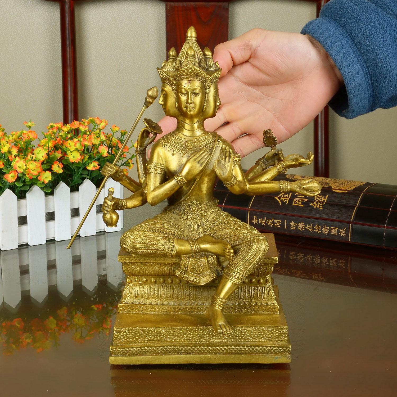 8.8寸泰國四面佛 紫銅色開光 純銅 泰國四面佛像 有求必應大梵天王銅像擺件佛堂居室用品