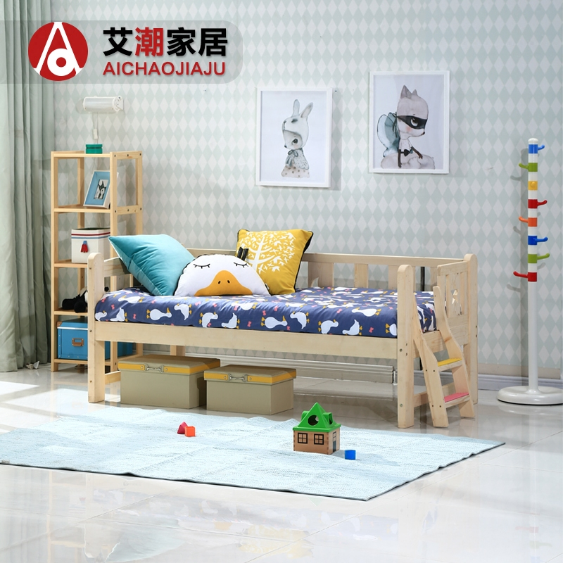 Simple folding children bed with guardrail, European combination bed, single bed, 1.2 meters, 1.5 meters, boys and girls