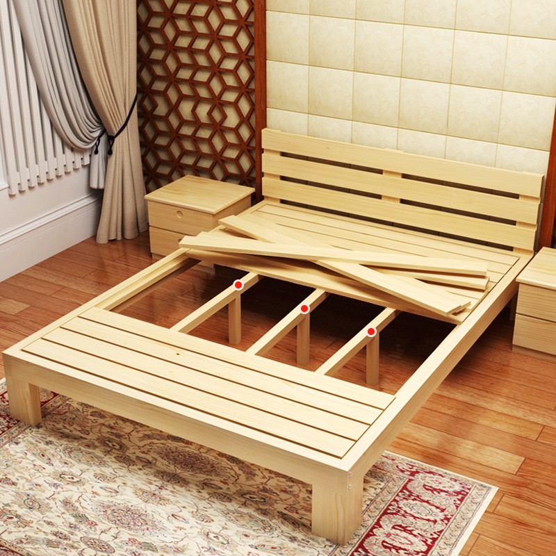 Children's bed, wood bed double 1.5 meters 1.8 meters bed simple furniture shipping wooden pine 1.