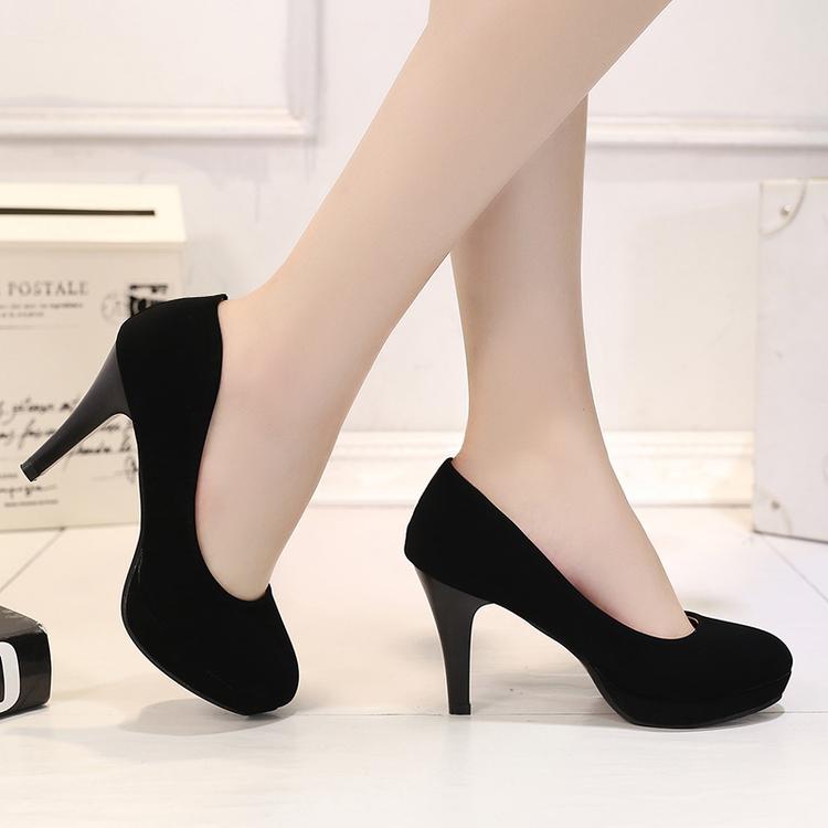 中跟职业女鞋黑色高跟鞋防水台工作大码单鞋3-5厘礼仪面试单根皮