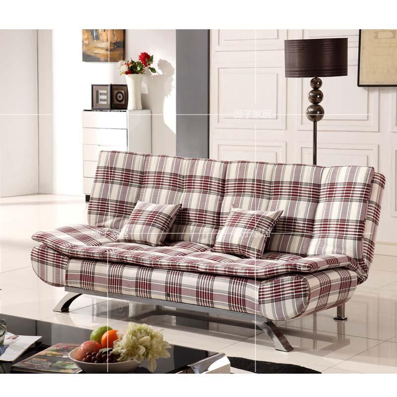 Το μικρό μέγεθος της πολυλειτουργικής πτυσσόμενο καναπέ - κρεβάτι βουκολική ύφασμα και ξύλινα διπλό καναπές - κρεβάτι