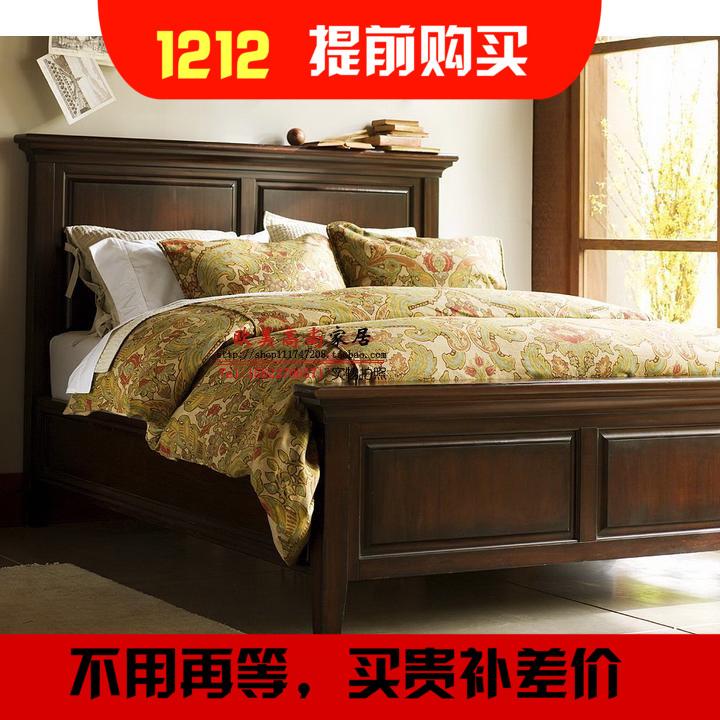 American style solid wood bed double bed, vintage oak 1.5 meters, 1.8 meters country single bed bedroom furniture