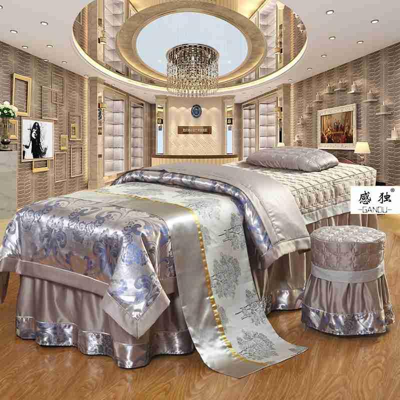 European high-end beauty bedspread four pieces silk super soft beauty salon special massage bedspread cotton quilt
