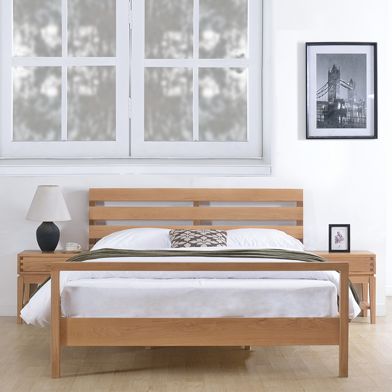 Nordic double bed, Guangdong art style oak logs, bedroom furniture, high-end logistics storage solid wood bed