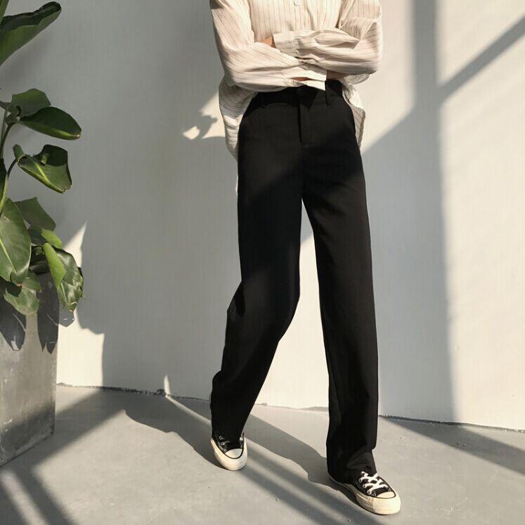 秋鼕新款韓國復古寬松百搭拖地純色簡約黑色直筒褲女褲休閑長褲
