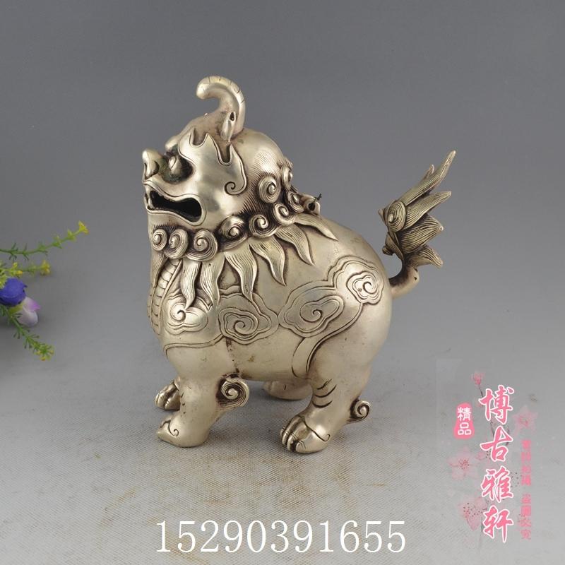 仿古銅器純銅鍍銀白銅貔貅熏香爐擺件裝飾工藝品古玩收藏精品