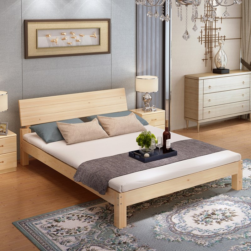 Economical simple modern solid wood bed single bed 1.21.51.8 meters Mi special bed for children