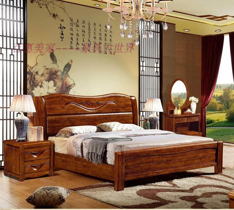 Enclosed 1.5/1.8*2 meters double bed solid wood bed, Thailand oak bed carved solid wood furniture, stretch walnut color