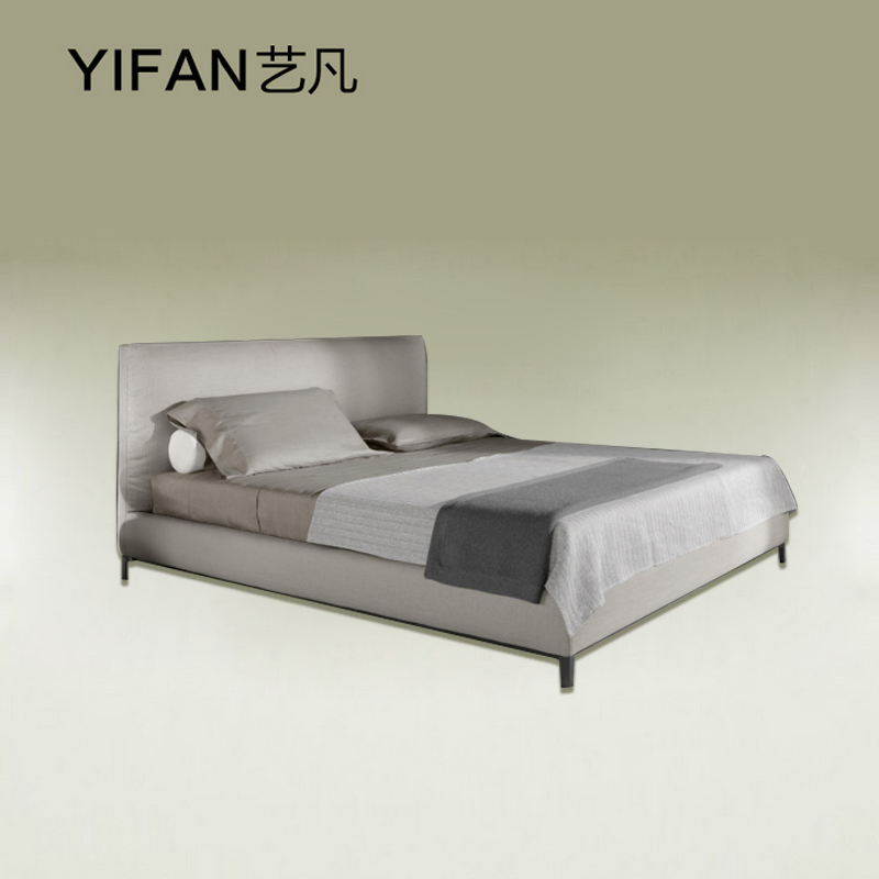 Where the art of modern minimalist furniture Nordic fabric double wood frame foot soft bed customized YF-881