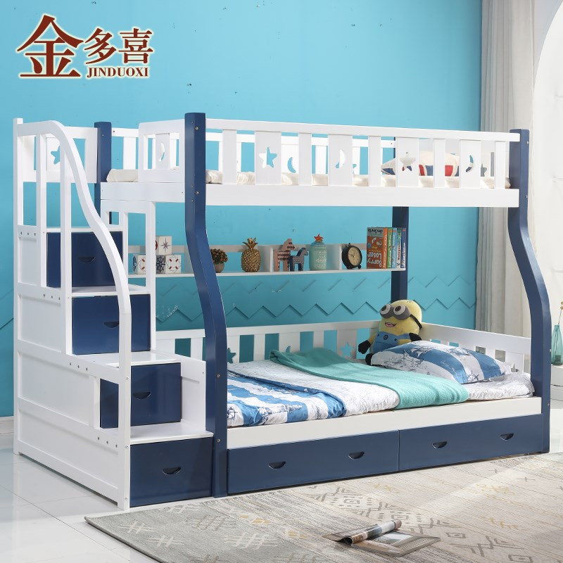 Mother and child bed, adult white solid wood child bed, bed out, high and low bed, upper and lower shop, mother bed, double bed