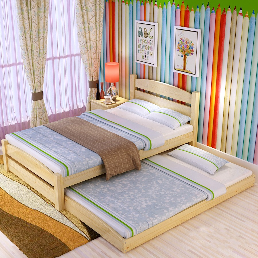 Special offer shipping pine wood bed Tuochuang children bed single bed double bed push broaching machine pump cluster bed set fence