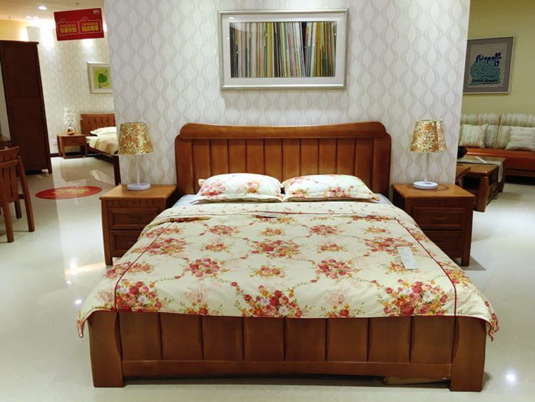 Federal furniture series of Chen Yun Yi Luo song Connor double bedroom J12502B wood storage bed of new Chinese style