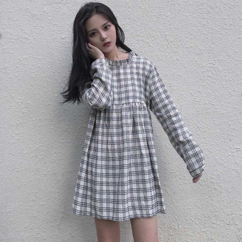 新款韓版復古小清新木耳邊拼接圓領寬松高腰格子長袖娃娃裝連衣裙