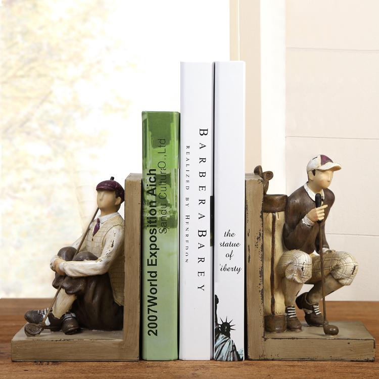 一對書擋美式法式 鄉村風格復古樹脂擺件家居書房飾品高爾夫裝飾書擋辦公