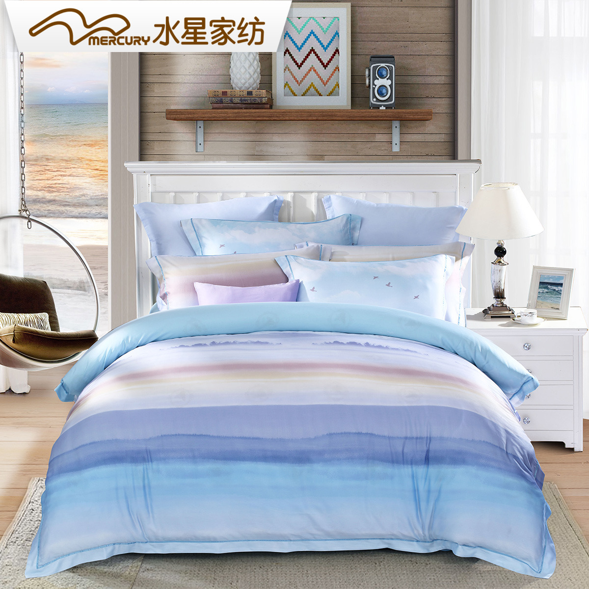 Mercury textile printing four pieces of wood Tencel Tencel linen quilt Jinxiu 1.8 meters 2017 new bed