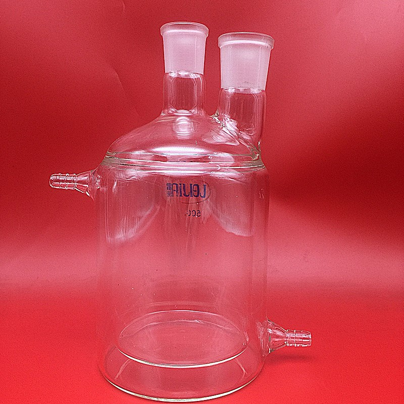 Laboratory glassware, two jacket reactor, flat bottomed double deck reactor 500ml