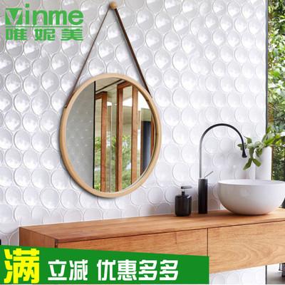 包邮北欧日式长方圆形墙上壁悬挂式化妆镜子浴室卫生洗手间实木框
