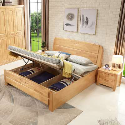 Modern minimalist Chinese oak with high box storage bedroom, home solid wood bed 1.8m double bed, master bedroom 1.5 meters original