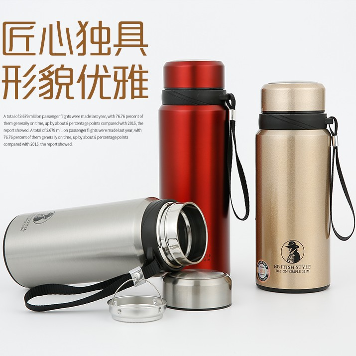 Large heat preservation cup, large capacity 750ml stainless steel kettle, vacuum outdoor portable high grade glass