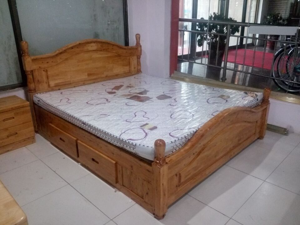 Jane wood double bed 1.8 meters 1.5 meters high pure wood box hydraulic bed